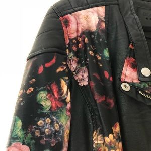 BLANKNYC faux leather and floral jacket size small